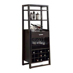 Monarch Specialties - Monarch Specialties Contemporary 24 x 16 Rectangular Ladder Style Home Bar - This stylish and contemporary ladder bar unit encompasses a design that is ideal for entertaining your guests. It features a drawer, a place to hang glasses, shelf space ideal for making cocktails, and a wine rack that can store up to 15 wine bottles. This cappuccino finished, solid-wood unit is practical, elegant and a must-have in every home! What's included: Home Bar (1).