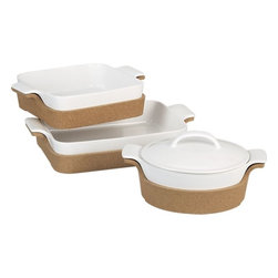 Bakers With Cork - Cork jackets make it easy for these stylish stoneware bakers to go from oven to table in a jiffy.