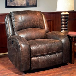 Parker House Bacchus Power Recliner - The Parker House Bacchus Power Recliner brings stylish comfort to any room. Made with a hardwood frame and wrapped in plush padding, this chair features a motorized reclining action with a quality Okin motor. Faux leather looks great in any décor and feels soft to the touch. Other features include adjustable back tension, removable back, and Dacron-treated fabric.About Parker HouseFamily-owned and family-operated, Parker House Furniture is based in California and has been serving the fine furniture industry since 1946. The company's time-proven quality is an industry standard. Parker House continues its legacy with its newest line of expanding television consoles and entertainment wall systems, plasma TV stands, and accessories. Parker House takes pride in the quality of its furniture and is committed to making customer satisfaction its number one priority.