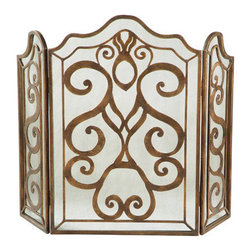 Ambella Home - Tiger Lily 3-Panel Fireplace Screen - Two-tone wrought iron decorates the Tiger Lily 3-panel fireplace screen like wings of a butterfly. Side panels can be adjusted to fit a variety of fireplace sizes. Dimensions: 49 in. x 1 in. x 38 in.