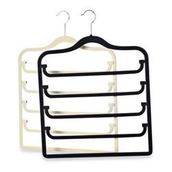 Real Simple - Real Simple Slimline 5-Tier Swivel Pant Hanger - Put the vertical space to use in your closet with this sturdy, slim-design 5-tier pants hanger. The hinges make pants easy to access and the velvet-covered bars help keep clothing from slipping off.