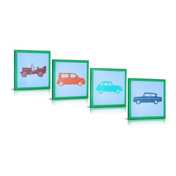 Green Frog - Green Frog My Cars 4 Piece Canvas Gallery Wrapped Art - GF0010 - Shop for Framed Art and Posters from Hayneedle.com! Framed in serene green the Green Frog My Cars 4 Piece Canvas Gallery Wrapped Art set is the perfect set for aspiring aficionados. Featuring classic roadsters and chic Chevys this four-piece set of vintage wheels has a modern feel in colorful shades.Green Frog lets you feel good about your purchase by supporting our military families with every art piece or set sold. Operation Homefront's Star Spangled Babies receives a matching donation for every piece you purchase.About Green FrogBased in Lakewood New Jersey Green Frog has been producing distinctive dependable children's products since 1996. From premium cribs to rocking chairs wall decor to heirloom baby cradles Green Frog is committed to creating products children will love and parents will value for generations.Green Frog's commitment extends beyond high-quality children's furnishings to supporting our communities and nurturing our environment. For every wooden cradle Green Frog sells the company ensures a new tree is planted. And for every work of art sold Green Frog makes a matching donation to Operation Homefront's Star Spangled Babies a thoughtful and patriotic program that supports military and wounded-warrior families with all their baby's needs. Green Frog: Here for Years to Come.