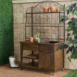 Coral Coast Courtyard Rustic Potting Bench - Bring a touch of antique charm to your yard or patio with the Courtyard Rustic Potting Bench. This rustic potting bench is the perfect answer to outdoor storage needs. A spacious drawer cupboard and shelving keep gardening tools and outdoor necessities within easy reach while maintaining strong organization. If you're looking to entertain then this bench doubles wonderfully as a buffet for serving food or drinks on the patio. The metal hutch adds a subtle elegance to this versatile bench while metal casters allow you to take the bench anywhere you might need -- in your yard at least. Detailed Hutch Dimensions: Working surface: 41W x 13.5D inches Clearance between working surface and middle shelf: 15.25H inches Middle Shelf: 40.5W x 13D x 12.75H inches Top Shelf: 40.5W x 13D inches