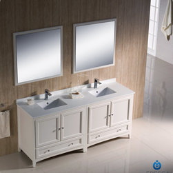"Fresca - Fresca Oxford 72"" Traditional Double Sink Bathroom Vanity Set - Blending clean lines with classic wood, the Fresca Oxford Traditional Bathroom Vanity is a must-have for modern and traditional bathrooms alike. The vanity frame itself features solid wood in a stunning mahogany finish that's sure to stand out in any bathroom and match all interiors. Available in many different finishes and configurations."