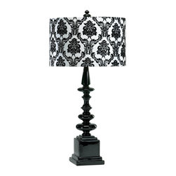 Kathy Kuo Home - Dario Neo Noir Gloss Black & White Damask Contemporary Table Lamp - This eclectic table lamp has a bold graphic presence that adds an instant update into a traditional space. The glossy black ceramic base is topped with a damask patterned shade. Together they deliver tried and true traditional chops, while the monochromatic pallet and finial-effect curves give an op-art edge.