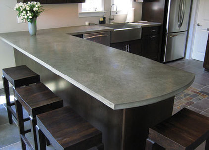 eclectic kitchen countertops by Trueform Concrete
