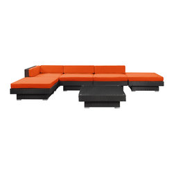 LexMod - Laguna Outdoor Wicker Patio 6-Piece Sectional Sofa Set in Espresso - Plumb the surface depths with the sweetly expressive Laguna corner set. Encompass moments of inspiration as you create ripple effects to be felt the world over. With soft all-weather orange fabric cushions and espresso rattan base, yield surprising results and let spontaneity flow forth as you sit in lavish comfort.