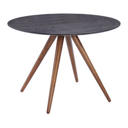 Zuo Modern Contemporary, Inc. - Grapeland Heights Dining Table Walnut & Black - Splayed legs and round top give the Grapeland Heights Table a mod feel. Has a handsome walnut color finish in the legs and matte black with wood grain for the top. It's a lovely foil for mid-century chairs.
