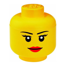 LEGO - LEGO Small Storage Head, Bright Yellow Girl - Do home storage the iconic way with our Lego small Storage Head Girl in bright yellow. A glossy plastic storage container for whatever you feel like tidying away - or simply enjoy having this great icon within your room. As it is food safe, can also be used to serve popcorn or snacks at a party.