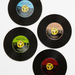 45 Record Coasters - With just the right amount of whimsy, these record coasters make total sense in the home of any music lover.