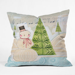 DENY Designs - DENY Designs Cori Dantini White Christmas Throw Pillow - Wanna transform a serious room into a fun, inviting space? Looking to complete a room full of solids with a unique print? Need to add a pop of color to your dull, lackluster space? Accomplish all of the above with one simple, yet powerful home accessory we like to call the DENY Throw Pillow! Available in four sizes, our throw pillow is made from a medium weight woven polyester with a hidden zipper and removable bun insert.