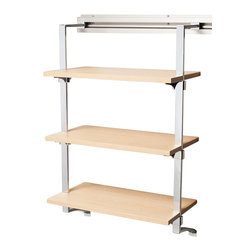 Arrange A Space - Three Shelf Rack in Maple Finish - Includes hardware. Anodized aluminum rail. Rail mounts easily onto the wall. Easy to installs into wood studs. 0.75 in. shelf thickness with industrial grade particle board. Commercial grade steel tubing hang rod in polished chrome. Made from fine wood grain melamine and metal. 24 in. W x 11.75 in. D x 38 in. H (32 lbs.)Arrange a Space's patented closet systems provide you with a unique and innovative solution for all of your space and storage needs. Created as a more flexible and versatile option for closets and storage areas than the common white wire or wood shelf, rod systems of the past.