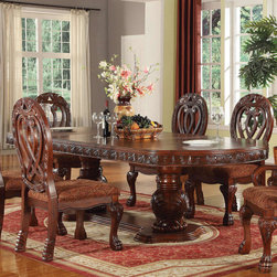 """Acme Furniture - Quinlan Double Pedestal Dining Table in Cherry - Quinlan Double Pedestal Dining Table in Cherry; Finish: Cherry; Dimensions: 46""""Wx76"""" ~ 112""""L(2x18"""" Leaves)"""