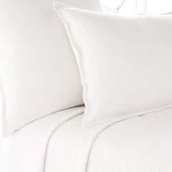 Pine Cone Hill - Pine Cone Hill Diamond White Matelasse Coverlet - Pine Cone Hill Diamond White Matelasse CoverletGive your bedroom some style sparkle with Pine Cone Hill's Diamond White Matelasse Coverlet. Crafted from easy-care cotton, this coverlet features a fresh white hue that feels clean and airy. Add it as a neutral touch, or let the stitched detailing add some subtle texture. Use it over a heavier duvet in the wintertime or just keep it as a lightweight layer in the summer. Talk about a gem.Available in three sizes