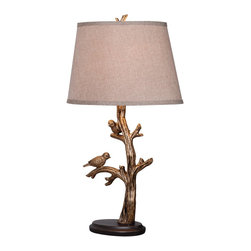"Kenroy - Kenroy KR-32295BRZD Tweeter Table Lamp - You'll need more than 120 characters to talk about the Tweeter Table Lamp! The 26"" lamp, with Bronzed Finish, features a pair of gentle birds perched on the branches, ready to flutter away at any moment.  An ideal piece for accent tables, buffets, or bedroom lighting."