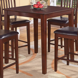 """East West Furniture - Vernon Pub, Counter Height Square Table - Mahogany Finish - Vernon Pub, Counter Height Square Table - Mahogany Finish; Mahogany Vernon table & chairs sets will grace any dinette, kitchen, or dining room.; Vernon table & chairs are excellent for restaurants as these sets are both pub height and counter height.; Classy square table is counter height and will fit perfectly in any kitchen, dining room, dinette, or restaurant.; Weight: 60 lbs; Dimensions: 36""""L x 36""""W x 36""""H"""