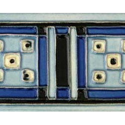 "Glass Tile Oasis - Aztec Blue 3"" x 6"" Blue 3"" x 6"" Deco Tiles Glossy Ceramic - Tile Size:  3"" x 6""     Sold by the piece   - All ceramic tiles are hand painted. Glazed thickness will vary from tile to tile  resulting in color variation. Hand-Painted Ceramic tiles will craze and crackle over time  which is intentional and a desired effect."