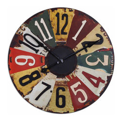 Uttermost - Vintage License Plates 29 in.  Wall Clock - This Colorful Clock Face Consists Of Vintage Pictures Of Old License Plates With Rustic Bronze Details. Quartz Movement.