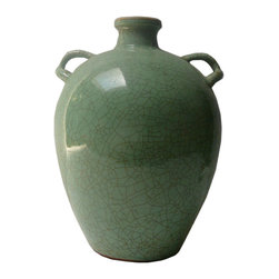Golden Lotus - Chinese Ceramic Crackle Pattern Celadon Green Jar - This is a hand made ceramic pottery jar with round body and 2 small ring shape handle. The surface is glazed with celadon green color with crackle pattern.
