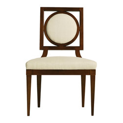 Baker Furniture - Louis Dining Side Chair - The Louis Dining Side and Arm Chair is crafted from mahogany solids and finished in mahogany veneers.  The graphic design was inspired by 18th century, Italian Neo-Classic design.  Its graphic circle-within-square framed back has a slightly padded, upholstered front and a tight upholstered back that is slightly inset from its frame and secured at each point with a square of hand-forged metal finished in Antique Brass.  Curved wood supports join the back to its tightly upholstered seat.  The seat rests above a wood base before terminating to four tapered legs. The arm chair features exposed wood arms that sweep down then cut away before joining the seat base.  The chairs are shown here finished in the collection's signature Sable finish.
