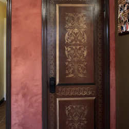 Faux Painted Doors: Distressed and Aged Wood - Faux wood grain, faux, painted, art, artisan, old world, ornate, gilded, Trompe L'oeil, hand painted, custom, faux finish, faux bois, glaze, door, venetian plaster wall, wall, limestone, aged, distressed, stencil