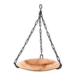 Achla - Copper Hanging Birdbath - Lustrous hammered copper birdbath bowl with rim. Polished Copper. Black Wrought Iron Hanging Chain included. Post not included. Construction Material: Steel. No Assembly Required. Bowl: 12.5 in. Diam. X 3 in. D (6 lbs.). 16.5 in. chain