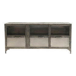 Antique Nickel Finish Iron Media Cabinet