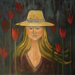 Audrey Mabee,  'The Girl Who Loves Tulips' - 1991, signed original oil on canvas; artist's gold-colored wood frame. Please allow additional lead time as this artwork is shipped from Canada (to Seattle), before being shipped to buyer.