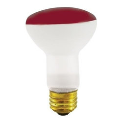 Bulbrite - Reflector Incandescent Bulbs in Red Shade - 1 - One pack of 12 Bulbs. 120V E26 intermediate base bulb. 360 degrees beam spread. Long life. Colored reflectors add a festive and fun touch to any application. Ideal for indoor residential and commercial use lighting. Perfect for recessed cans, sign, display, track applications. Dimmable. Average hours: 2000. Color rendering index: 100. Wattage: 50 watt. Maximum overall length: 4 in.
