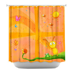 DiaNoche Designs - Happy Baby Orange Shower Curtain - Sewn reinforced holes for shower curtain rings. Shower curtain rings not included. Dye Sublimation printing adheres the ink to the material for long life and durability. Machine washable. Made in USA.