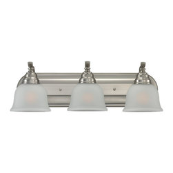Seagull - Seagull Wheaton Bathroom Lighting Fixture in Brushed Nickel - Shown in picture: 44627-962 Three LIght Wall / Bath in Brushed Nickel finish with Satin Etched'Glass
