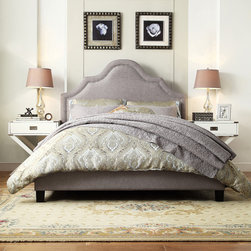 Inspire Q - INSPIRE Q Fletcher Grey Linen Nailhead Arch Curved Upholstered Platform Bed - The Esmeral Collection brings in high-arching curves defined by nickel nailhead trimming,adding elegant looks and class to this furniture piece. This bed is finished with espresso wood wrapped with grey upholstery and cushioning at the headboard.