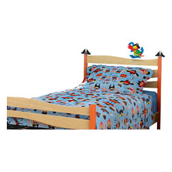 Room Magic - Pirate Pals Twin Comforter/Bedskirt/Sham - Boys will walk the plank for our Pirate Pals playful designer print bedding set. Set includes Twin comforter, solid tailored bed skirt and print pillow shams.  Available in Twin size in the finest 100% Cotton.