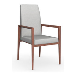 Calligaris - Bess Arm Chair, Walnut Legs, Denver A02 (Sand), Set of 2 - Place these flawless chairs at the head of your table to complete the clean look of your dining room. No one has to know that the comfortable armrests and high back make it feel more like an easy chair.