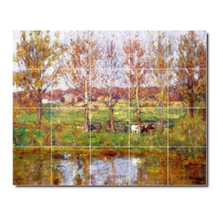 Picture-Tiles, LLC - Cows By The Stream Tile Mural By Theodore Steele - * MURAL SIZE: 48x60 inch tile mural using (20) 12x12 ceramic tiles-satin finish.
