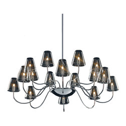 ET2 Lighting - Chic 16-Light Chandelier - Bring your excellent taste to light with this shimmering chandelier. With soft, candle-inspired bulbs, shapely clear glass shades and gracefully curved chrome arms, it's a classically elegant piece that radiates chic modern style.