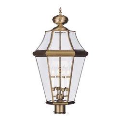Livex Lighting - Livex Lighting Outdoor Post Light Georgetown, Antique Brass - Livex Lighting 2368-01 Outdoor Post Light Georgetown.