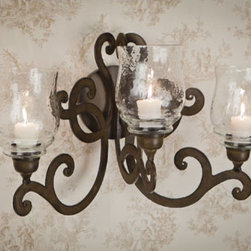 Dessau Home - Bronze Three Light Scroll Candle Wall Sconce - - 22.5 W 13D  15H   - Please note - candle not included - Accessories not included Dessau Home - ME2283