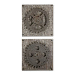 Uttermost - Uttermost 13828 Rustic Gears Wall Art, Set of 2 - Uttermost 13828 Rustic Gears Wall Art, Set of 2Rust bronze details accented with heavily distressed, aged ivory over rustic wood.Uttermost 13828 Features: