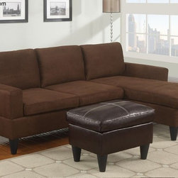 Poundex Furniture - Bobkona All in One Small Sectional Sofa Set - F7281 - Chocol - Contemporary/Modern Look