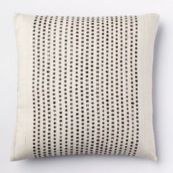 Embroidered Dot Silk Pillow Cover, Sable - Plop this simple and pretty pillow on your sofa.