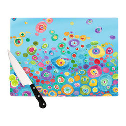 """Kess InHouse - Catherine Holcombe """"Inner Circle Blue"""" Cutting Board (11"""" x 7.5"""") - These sturdy tempered glass cutting boards will make everything you chop look like a Dutch painting. Perfect the art of cooking with your KESS InHouse unique art cutting board. Go for patterns or painted, either way this non-skid, dishwasher safe cutting board is perfect for preparing any artistic dinner or serving. Cut, chop, serve or frame, all of these unique cutting boards are gorgeous."""