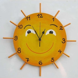 Little Miss Sunshine Hand Painted Wall Clock by Tammnoony Kids - You can tell the time by looking at the position of the sun in the sky — or just by looking at the one on the wall.