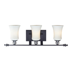 Three Light Matte Black White Glass Vanity - With contrasting white shades and crystal spheres, this three light vanity fixture is a unique mix of contemporary and traditional styling. Finished in matte black, this fixture creates an elegant yet bold statement.
