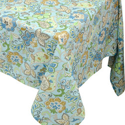 "Enchante Accessories Inc - Raymond Waites Rectangular Table Cloth - 60""x 120"" (Blue/Multi Flowers) - Premium quality 100% cotton table linen with finished seamExpertly tailored with high quality cotton linenMachine wash in cold with like colors, colors do not bleedFloral patterns with elegant vintage styleMatching napkins availableElegant and functional, these tablecloths serve to dress a table, and to protect it from scratches. Use on dining room tables, banquet tables and restaurants. We carefully select high-quality fabrics and threads to create every table linen. Made from natural materials and dip-dyed with non-toxic dye, the reactive dyeing process makes the table linens a beautiful and solid color while maintaining their natural softness.These gorgeous floral prints invite lively conversations for brunch, lunch, garden parties and casual dining. Made in India of 100% cotton, in deep colors as shown, these exciting tablecloths are beautifully finished with fine printed elegant patterns.These high quality cotton table linens have a wonderfully vintage feel and are a great way to enhance your dining room setting.The Table cloths come in a variety of patterns and colors. They come packaged in a protective plastic button sealed case."