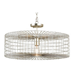 Currey and Company - Dusklight Ceiling Mount - In a silver leaf finish, this distinctive chandelier brings a chic, rustic air to your interior. Outfit it with an Edison bulb to give your space an especially vintage note — its cage-like wrought iron frame showcases it beautifully.