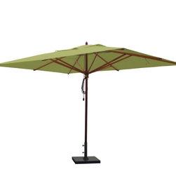 Greencorner - 10'x13' Mahogany Umbrella, Lime Green - 10'x13' Rectangle