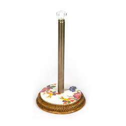 Flower Market Enamel Paper Towel Holder - White   MacKenzie-Childs - Cheer up your kitchen! Stainless steel center post, glass finial, and enamel base. Hand-woven bamboo.