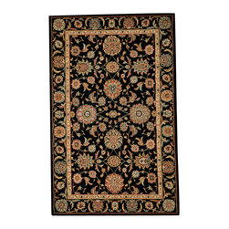 """Nourison - Nourison Living Treasures LI05 3'6"""" x 5'6"""" Black Area Rug 67109 - Elegantly bordered and rendered in dramatic hues of gold, taupe, rose, blue, black, olive, crimson and clementine, a traditional floral print rug is stunning in its timeless sophistication. Crafted from incredibly lush wool and specially dyed for high-intensity brilliance, this majestic rug boasts a thrilling tone and transfixing texture."""