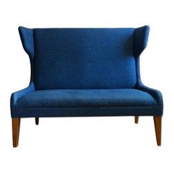 Mitchell Gold + Bob Williams Blue Chambray Settee/Sofette - Retail Price: $1000